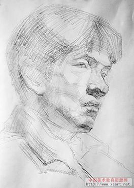 素描人物头像写生过程图片